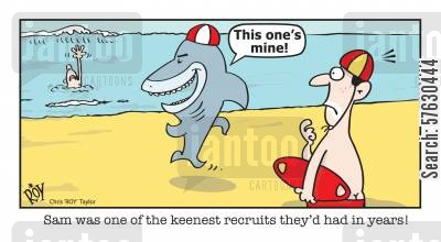 life guards cartoon humor: 'Sam was one of the keenest recruits they'd had in years.'