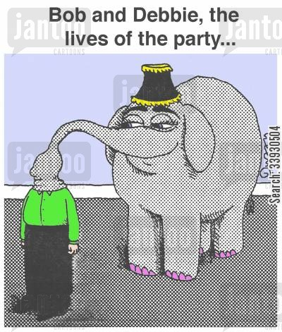 party tricks cartoon humor: Bob and Debbie, the lives of the party...