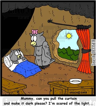 scared of the dark cartoon humor: 'Mummy, can you please pull the curtain and make it dark please? I'm scared of the light...'