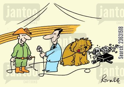 lion trainer cartoon humor: Lion trainer interviewed whilst lion eats camera operator.