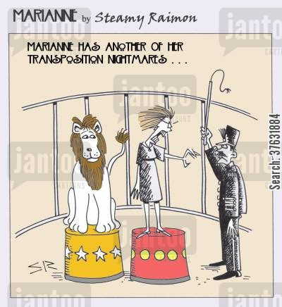 snarl cartoon humor: Marianne and lion tamer