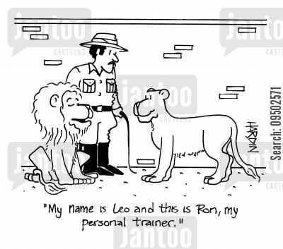 personal trainers cartoon humor: 'My name is Leo and this is Ron, my personal trainer.'