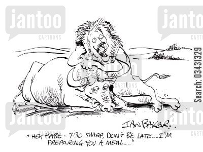 bison cartoon humor: 'Hey Babe - 7:30 sharp, don't be late...I'm preparing you a meal...'