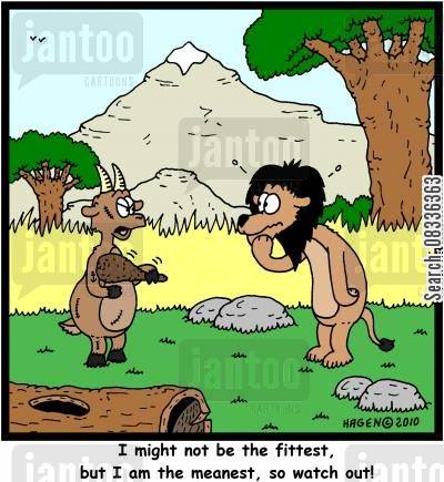 fittest cartoon humor: 'I might not be the fittest, but I am the meanest, so watch out!'