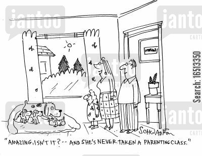 parenting classes cartoon humor: 'Amazing, isn't it? - And she's never taken a parenting class.'