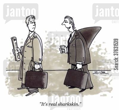 loan shark cartoon humor: 'It's real sharkskin,'