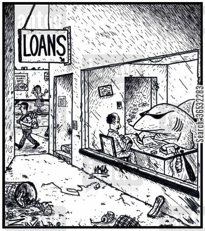 lends cartoon humor: Loan Shark.