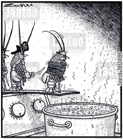 privateer cartoon humor: A Pirate Lobster Prisoner about to Walk the Plank into a boiling pot of water.