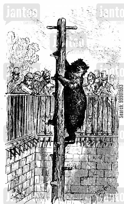 zoos cartoon humor: Bear Climbs a Pole in the Zoo