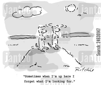 lemmings cartoon humor: 'Sometimes when I'm up here I forget what I looking for.'