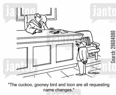 legal representative cartoon humor: 'The cuckoo, gooney bird and loon are all requesting name changes.'