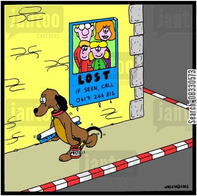 lost dogs cartoon humor: Dog who has lost his family