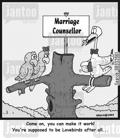 lovebirds cartoon humor: 'Come on, you can make it work! You're supposed to be Lovebirds after all...'