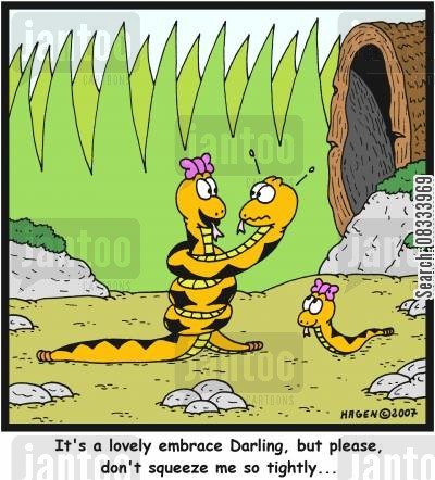 darling cartoon humor: 'It's a lovely embrace Darling, but please, don't squeeze me so tightly...'