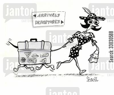 departures cartoon humor: Dog luggage.