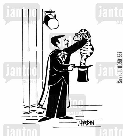 tricks cartoon humor: Magician pulls snake out of hat.