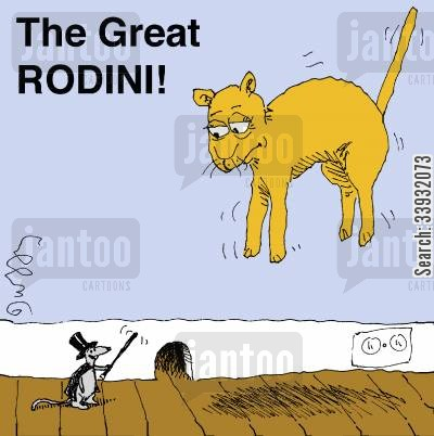 show biz cartoon humor: The Great RODINI!