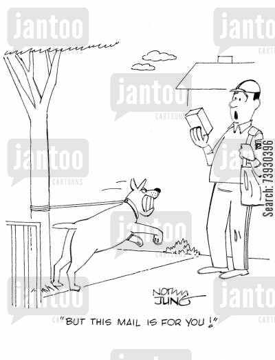 post service cartoon humor: 'But this mail is for you!'
