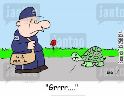 postal office cartoon humor: 'Grrrr....'