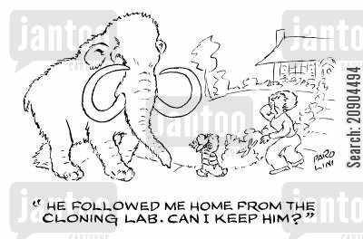 science laboratories cartoon humor: 'He followed me home from the cloning lab. Can I keep him?'