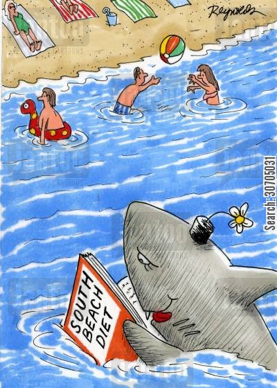 great white sharks cartoon humor: Diet for sharks