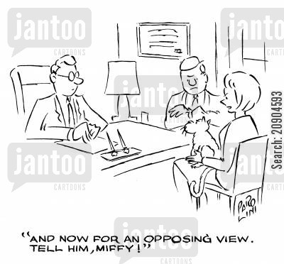 marriage problems cartoon humor: 'And now for an opposing view. Tell him, Miffy!'