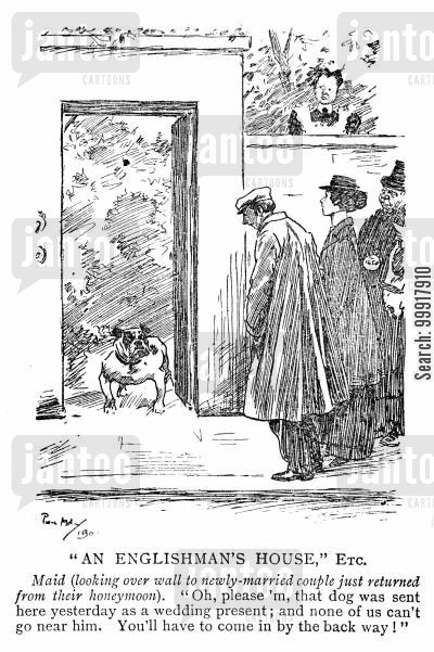 married couple cartoon humor: A bulldog sent as a wedding present not letting the honeymoon couple back through thier gate.