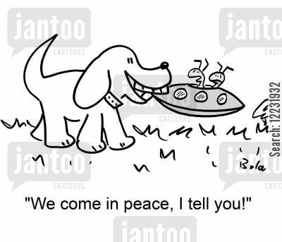 take me to your leader cartoon humor: 'We come in peace, I tell you!'