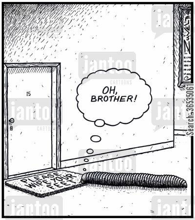 invertebrate cartoon humor: Millipede: 'OH, Brother!'