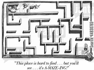 lab rat cartoon humor: 'This place is hard to find...but you'll see...it's A-MAZE-ING!'