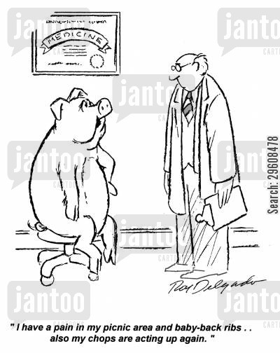 pork chop cartoon humor: 'I have a pain in my picnic area and baby-back ribs... also my chops are acting up again.'