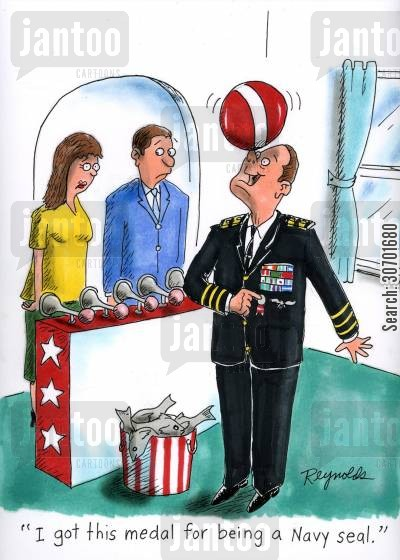 navy officers cartoon humor: 'I got this medal for being a Navy Seal.'