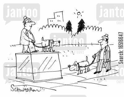 egotistic cartoon humor: Man with dog walks past statue of man with dog.