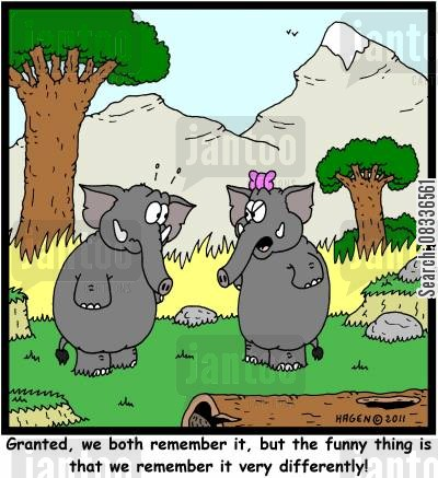 marital arguments cartoon humor: 'Granted, we both remember it, but the funny thing is that we remember it very differently!'