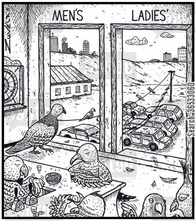 pooing cartoon humor: Men'sLadies'.