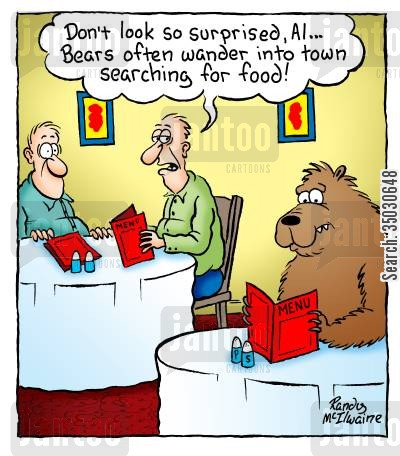 food order cartoon humor: 'Don't look so surprised, Al... Bears often wander into town searching for food!'