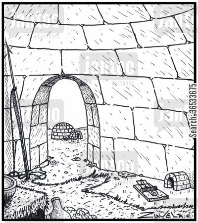 frigid cartoon humor: A Mouse hole in an Igloo in the form of an Igloo entrance.