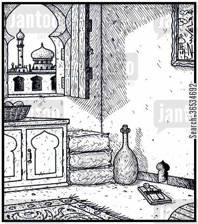 plague cartoon humor: A Mouse hole in the shape of Arabian architecture