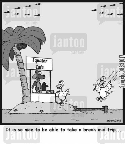 equator cartoon humor: It is so nice to be able to take a break mid trip...