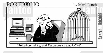 canary cartoon humor: 'Sell all our mining and resources stocks, NOW!'