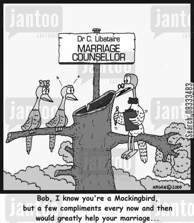 mockingbird cartoon humor: Bob, I know you're a Mockingbird, but a few compliments every now and then would greatly help your marriage...