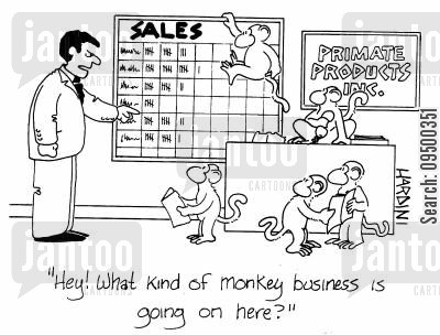 monkey businesses cartoon humor: 'Hey! What kind of monkey business is going on here?'