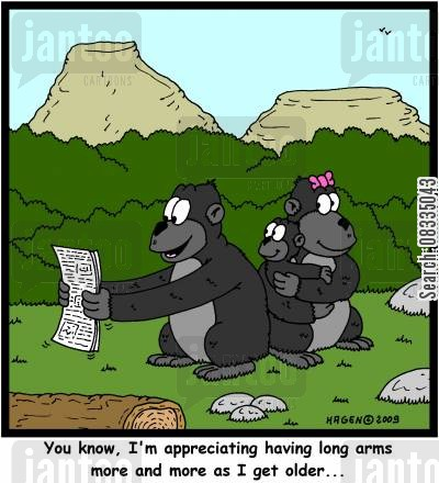 ophtalmologist cartoon humor: 'You know, I'm appreciating having long arms more and more as I get older,,,'