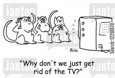 speak no evil cartoon humor: 'Why don't we just get rid of the TV?'