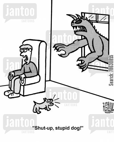 dog behaviour cartoon humor: 'Shut-up, stupid dog!'