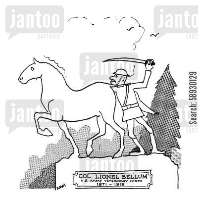 monument cartoon humor: Col. Lionel Bellum.