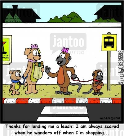 dog lead cartoon humor: 'Thanks for lending me a leash: I am always scared when he wanders off when I'm shopping...'