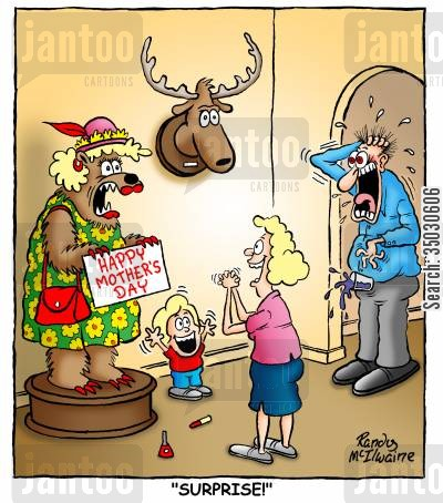 mothers day cartoon humor: Mother's Day surprise.