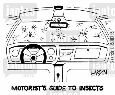 car owner cartoon humor: 'Motorist's Guide To Insects.'