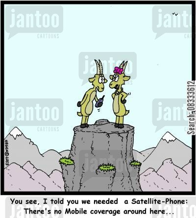 reception cartoon humor: 'You see, I told you we needed a Satellite-Phone: There's no Mobile coverage around here...'